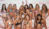 "The cast of ""Fantasy"" poses in bikinis on the red carpet."