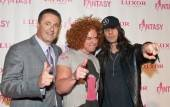 From left, Felix Rappaport, Carrot Top and Criss Angel on the red carpet.