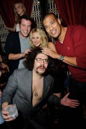 Ben Lyons, Stephanie Pratt, Michael Yo and Fabrizio Goldstein at Lavo Nightclub to celebrate Ben Lyons' birthday.