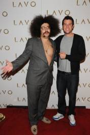 Fabrizio Goldstein and Ben Lyons walk the red carpet at Lavo nightclub.