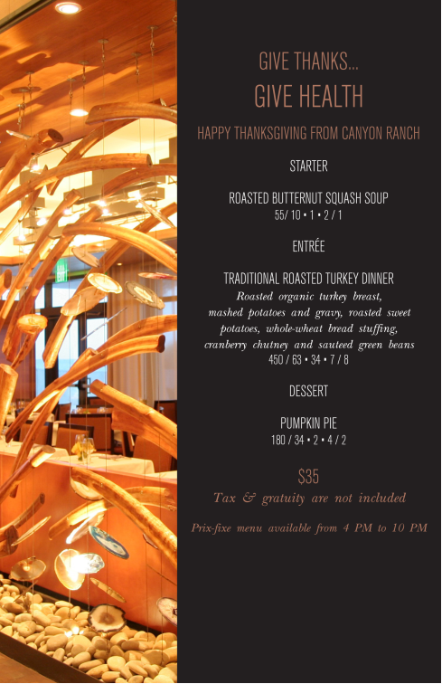 For A Healthy Thanksgiving, Canyon Ranch Grill Is Always An Option