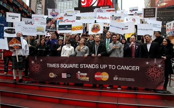 "Haute Event: Stars Turn Out in Times Square to ""Stand Up To Cancer"""