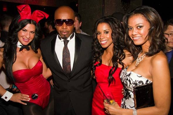 (L-R) Danielle Kalafut, MC Hammer, Chandella Powell, friend