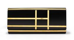 Black resine and gold metal clutch