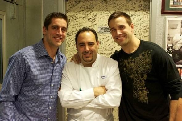Aaron Rodgers, Chef Barry, Matt Wilhem at N9NE Steakhouse-credit 9 Group