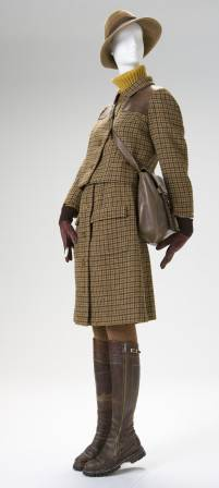 Hermès, French. Hunting Ensemble (Jacket, Skirt, Sweater, Hat, Tights, Boots, Bag and Gloves), early 1970s, wool, cotton, leather with metal fastenings. Gift of Mr. Vernon Taylor, Jr. and Family. Photo by Ken Howie.