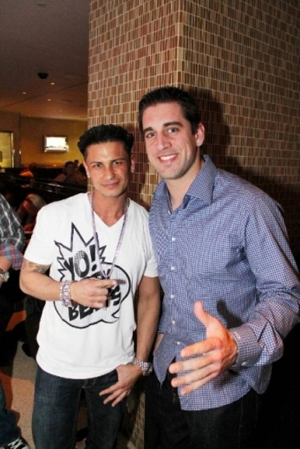Pauly D, Aaron Rodgers at N9NE Steakhouse-credit Edison Graff