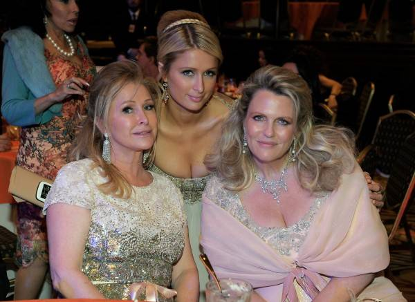 Kathy Hilton, actress Paris Hilton and Co-Chair, Race to Erase MS Nancy Davis attend the 18th Annual Race to Erase MS event co-chaired by Nancy Davis and Tommy Hilfiger at the Hyatt Regency Century Plaza on April 29, 2011 in Century City, California.