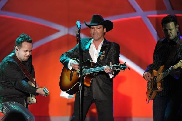 Musician Clay Walker perfroms onstage at the 18th Annual Race to Erase MS event Co-Chaired by Nancy Davis and Tommy Hilfiger at the Hyatt Regency Century Plaza on April 29, 2011 in Century City, California.