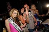 Miss Massachusetts Alida D'Angona, Miss USA Rima Fakih, DJ Jason Lema and Miss Nevada Sarah Chapman at Tao.