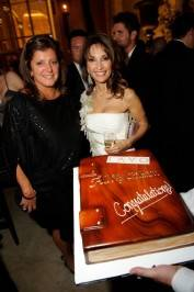 "Susan Lucci and a colleague with a custom cake at the ""All My Children"" awards party for the Daytime Emmys at Lavo Nightclub."