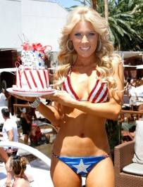 Gretchen Rossi shows off the star spangled cake she received at Bare Pool Lounge.