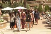 Kim Kardashian and her entourage at Azure Luxury Pool.