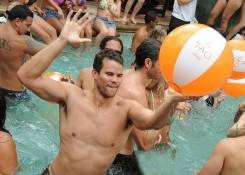Kris Humphries parties at Tao Beach for his bachelor party.