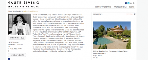 Haute Living Real Estate Network in San Francisco: Olivia Hsu Decker