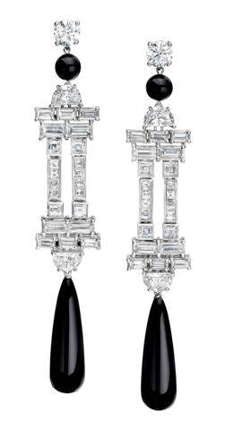 Blk & White Mixed Cut Diamond Earrings with Onyx