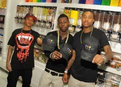 "Singers Cahron ""JayAre"" Childs, Chante ""Yung"" Glee and Corey ""C-Smoove"" Fawler at Sugar Factory."