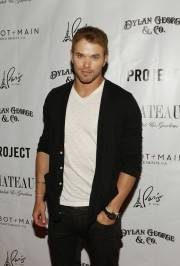 Kellan Lutz arrives at the red carpet for the Dylan George and Abbot + Main Spring 2012 launch at Chateau Nightclub & Gardens.