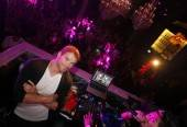 Kellan Lutz in the DJ booth at Chateau Nightclub & Gardens for the Dylan George and Abbot + Main Spring 2012 launch.