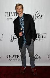 Actor Lucas Till arrives to celebrate his birthday at the Chateau Nightclub & Gardens.