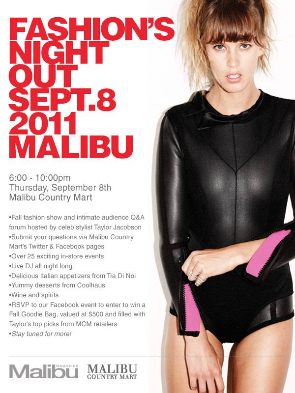 Celebrity Stylist Taylor Jacobson To Host Fashion's Night Out at The Malibu Country Mart on September 8