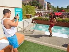 Jionni LaValle and Nicole 'Snooki' Polizzi frolic at Wet Republic.