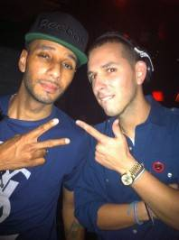 Swizz Beatz hopped up in the deejay booth to visit DJ Eric D Lux at Lavo Nightclub.