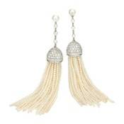 Tassel Seed Pearl & Diamond earrings