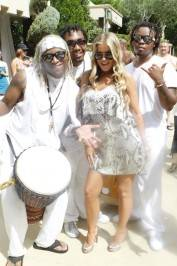 Carmen Electra entertained the crowd with the Azure Luxury Pool drummers.