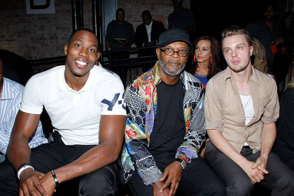 Dwight Howard, actors Samuel L. Jackson and Michael Pitt