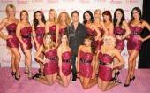 "The ladies of ""Fantasy"" with Jeff Timmons on the pink carpet at the Luxor."