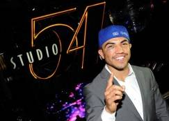 Boxer Victor Ortiz sports a black eye at his post-fight party at Studio 54 inside the MGM Grand.