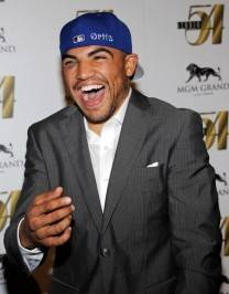 Boxer Victor Ortiz arrives at a post-fight party at Studio 54.