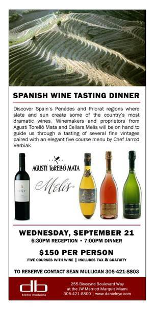 Spanish Wine Tasting Dinner at db Bistro Moderne Tomorrow Night —Reserve Your Spot Now