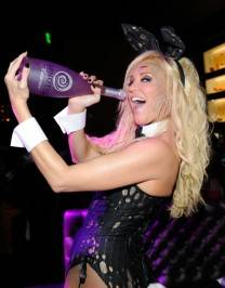 Bridget Marquardt celebrates Halloween chugging on Hpnotiq Harmonie at Gallery Nightclub.
