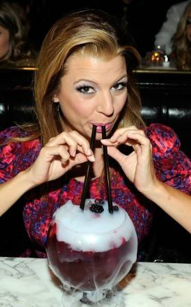 Dana Wilkey sips on Berry Bliss Goblet at Sugar Factory.