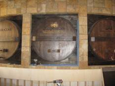 The wine barrels that line the bar at Fogo de Chão.