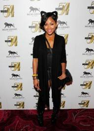 Meagan Good on red carpet at Studio 54.