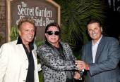 Siegfried Fischbacher, Roy Horn and Felix Rappaport celebrate Horn's birthday at Siegfried & Roy's Secret Garden and Dolphin Habitat at The Mirage on Sunday.