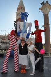 Mario Batali poses with characters at the Winter in Venice.