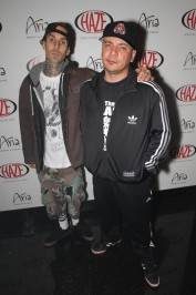 Travis Barker and Mix Master Mike on the red carpet at Haze Nightclub.