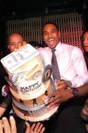 Trey Songz with his birthday cake at Lavo.