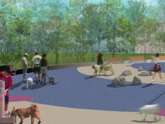 Manhattan Dogs Anticipate the Opening of the Multi-Million Dollar Water Park at the Hudson River Park