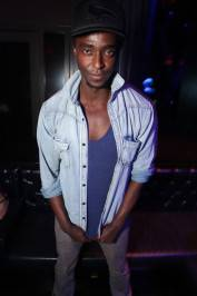 Edi Gathegi enjoys the night at Chateau Nightclub & Gardens in Las Vegas.