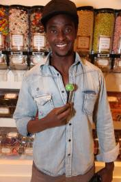 Edi Gathegi with a signature Sugar Factory Couture Pop at Sugar Factory in Las Vegas
