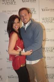 Melissa Rycroft and Tye Strickland on the white carpet.
