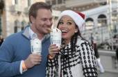 Tye Strickland and Melissa Rycroft sip on hot chocolate.