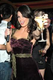 Laura Croft toasts to the New Year as she counts down the final moments of 2011 at Crazy Horse III.