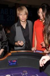 Nick Carter gambles with Lauren Kitt at the Hard Rock Hotel.