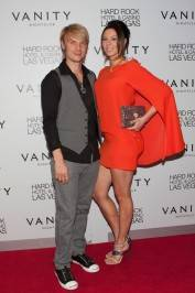 Nick Carter and Lauren Kitt on the red carpet at Vanity Nightclub.